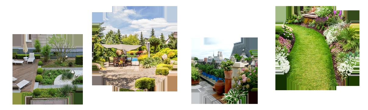 Differentes decorations de jardin